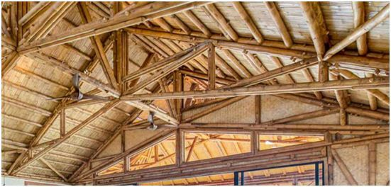 kerangka atap bambu